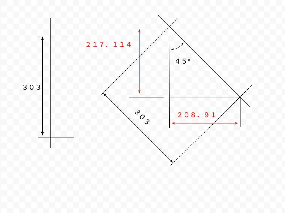 マシニングセンターのB軸回転時の座標について質問です。 B軸回転機能のある横型マシニングセンターで画像の計算値217.114と208.91は 合っているのでしょうか? 会社の他部署の人がCADで出した数値です 画像の中の線で、上部がテーブルの回転軸。 左側の303がワークのZ原点です。 右側がテーブルを−45°回転させた時の数値で、208.91がX、217.114がZです。