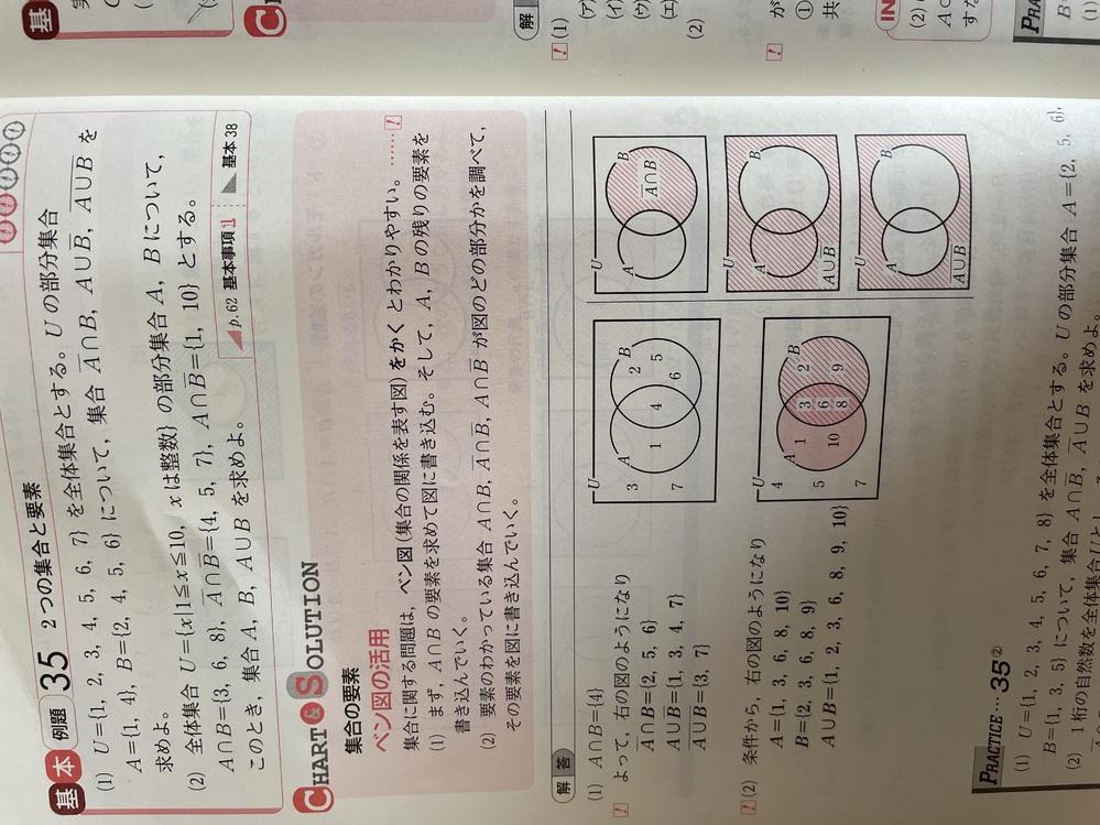 高校数学集合と要素の問題です。 写真の基本例題35の問題の(2)なのですが、やっていくと2と9がなぜ集合Bに入るのかがわかりません。