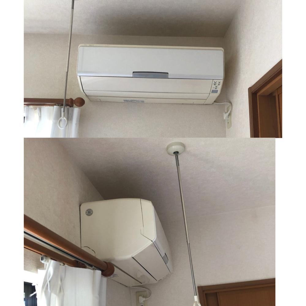 エアコンの設置可能サイズについて 現在、写真の富士通ノクリアから買い替えを検討しております。 ノクリアはサイズを考えず購入し、取り付ける時にギリギリと言われました。 買い換えたエアコン取り付け時の質問なのですが、カーテン側にと天井に数cmプラスした大きさの物は取り付け可能でしょうか? エアコンを買い換えるたびに、引っ掛けるための壁へのネジは新規にあけるのでしょうか? それともネジは以前のものを使うのでしょうか? ずっとネジが同じ場所でしたら、今と同じ大きさしかつけられないという事ですよね? 素人で申し訳ありませんが、宜しくお願いしますm(_ _)m