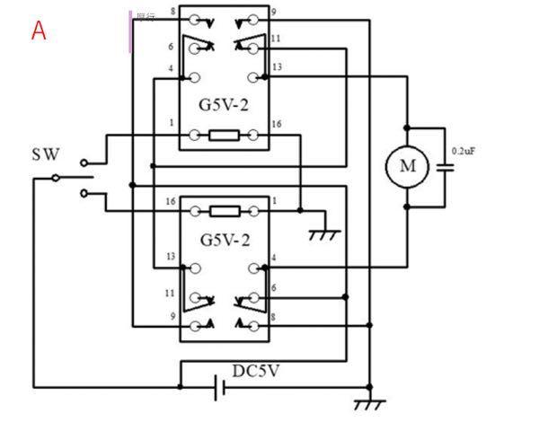 トグルスイッチを中立にした時には電流はどのように配線を通りますか?図はこれをイメージしています。 リレーを活用したモーター回路です