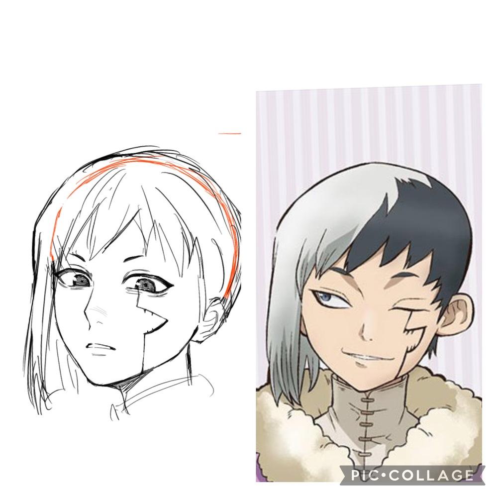 自分の絵は髪の毛のボリュームが少ないことがわかったので意識しながら描いたのですが変でしょうか?右がアニメで左が自分で描いたものです ドクターストーンのあさぎりゲンです 他にも気になるところがあれば教えていただけると嬉しいです…!