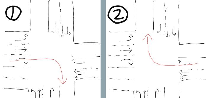 信号待ち等で止まって並んでいる車がいた場合、原付で車道外側線を通って車を抜いていくのは違反なのでしょうか? また、下の図①②のように右折する場合、それぞれ二段階右折する必要はあるのでしょうか。