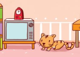 下記の画像の猫はテレビの横ですか、隣ですか。教えてください。 ①猫はテレビの横にあります。 ②猫はテレビのテレビにあります。