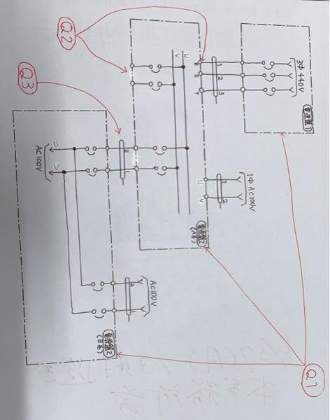 展開接続図について質問です。 完成図書をみていたのですが このような展開接続図がありました。 単線結線図や展開接続図など電気関係の 知識がないのでわからないことが多々あります。 Q1....