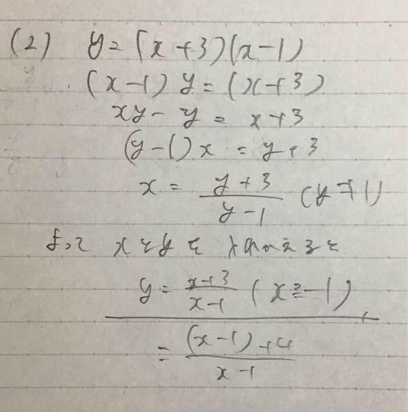 【逆関数】 y=x^2+2x-3(x≧-1)の逆関数を求めよ。 という問題を写真のように解いたのですが、解説は結果無理関数になっていて答えが違いました。 私の解き方の間違っている所を教えてください。