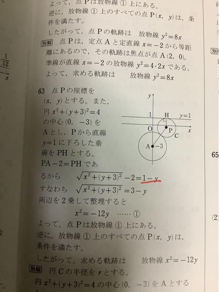 数学の点と点の距離についての問題です この問題ではPH=√(1-y)²と考えていますが PH=√(y-1)² と考えてはいけないのでしょうか
