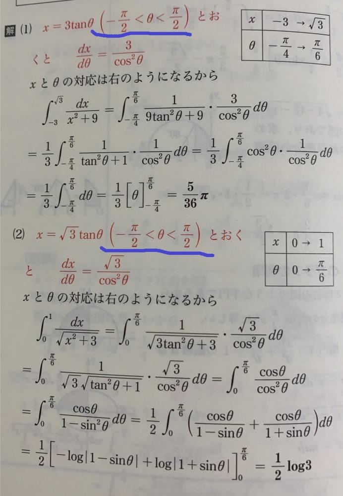 定積分についての質問です。 置換した際にどうしてこのθの範囲となるのですか? またこの範囲は必ず考慮するべきですか? どうか回答よろしくお願いします。