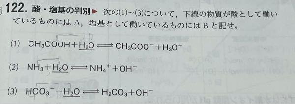 すみません緊急です! 急ぎで返事くれると助かります 酸、塩基の判別についてです CH3COOH+H2O↔CH3COO- + H3O+ は塩基として働いている。 と答案に書いているのですが、 理解ができないです。 与えるのが酸、受け取るのが塩基と 理解はしています。 しかし、どこを基準として受け取っている/与えている と見るのか分からないので教えて頂きたいです。 出来れば全て解説して頂けると助かります
