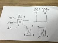照明器具2個 スイッチ2個の電気配線について。 大きめの倉庫に上記の配線を組みたいのですが、電気が来ていないため、必要時のみポータブル電源で照明をつけたいのですが、 調べてなんとなく組んでも両方の照明器具が点灯しません。片一方がつくともう一方が切れたりします。3路スイッチ?があったのでそれでやってみたのですが、それぞれ独立して入切をしたいのですが無理でしょうか?