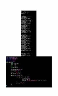 C言語で乱数を用いた簡単な成績シミュレーターを作ろうとしていました。点数は5点刻みで、3科目分のシミュレーションを行います。 配列a[i][j]のiが2の場合に、画像のように表示されます。ループが正常に進んでいないんだと思いますが、何が原因か分かりません。考えうる原因とその解決策を教えてください。