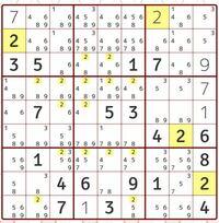 ナンプレです。 次に入る数字はどこでしょうか。 理由も教えて下さい。  マスはExcelのセルと同じで 縦列上から123456789 左横からABCDEFGHI でお願いします。 ex)1番右下の4⇨I9
