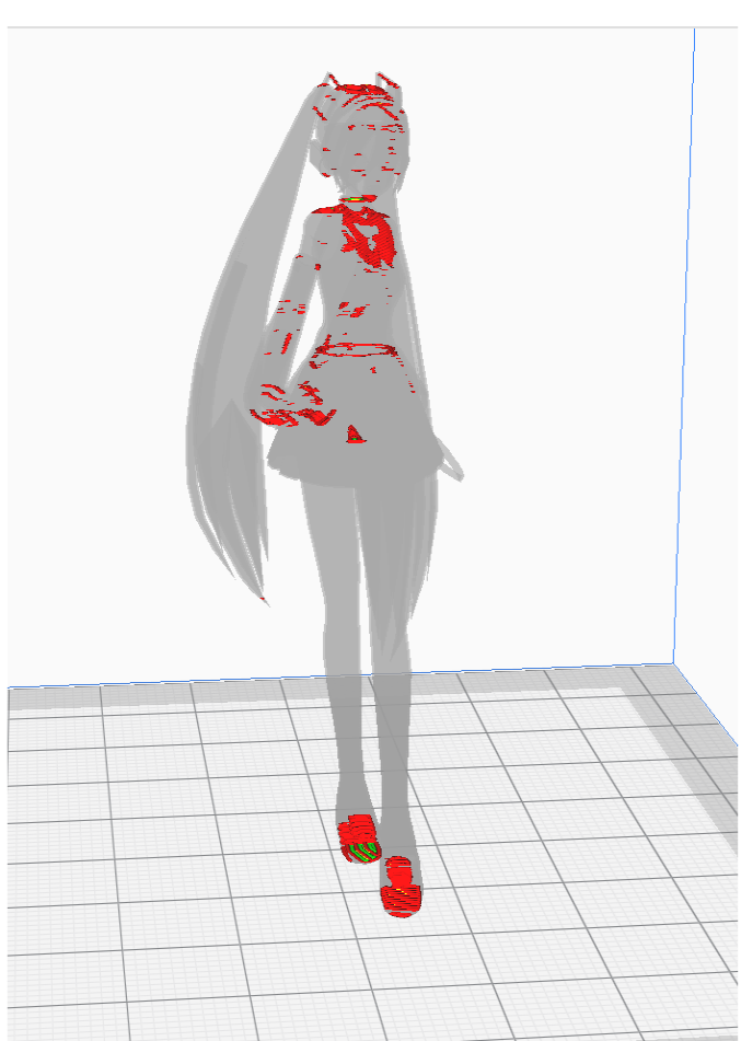 3Dスライスソフトのcuraについてです ネットで拾ったフィギュアなどをcuraでスライスしようとすると写真のようになってしまいます どうしたらうまくスライスできますか?