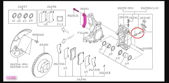 GDB インプレッサ ブレンボキャリパーのパーツ品番を教えてほしいです。 画像右側の赤丸している金具とボルトの品番が分かる方いないでしょうか。 よろしくお願いします。