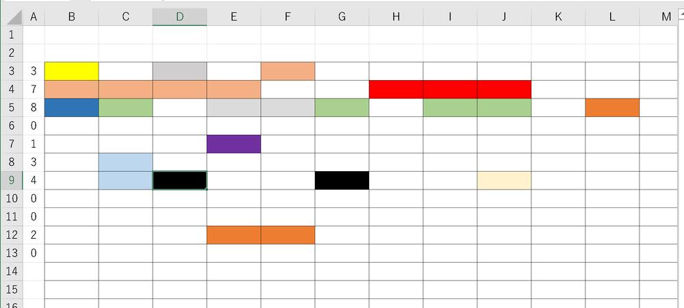 エクセルVBAについて押してください。 3行目から90行目の各列の色の塗られているセルだけの数を A列の各行に入力したいです。 数字の数はカウントできますが、色の数はできません。 申し訳ありませんがVBAコードを教えてください。