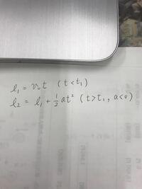 物体Aが等速v0で移動していて時間t=t1から減速度aで減速を始めた場合の物体Aの移動距離lは公式で表すと、写真のように考えたのですが、間違っている様です。この公式のどこが間違っているのでしょうか?