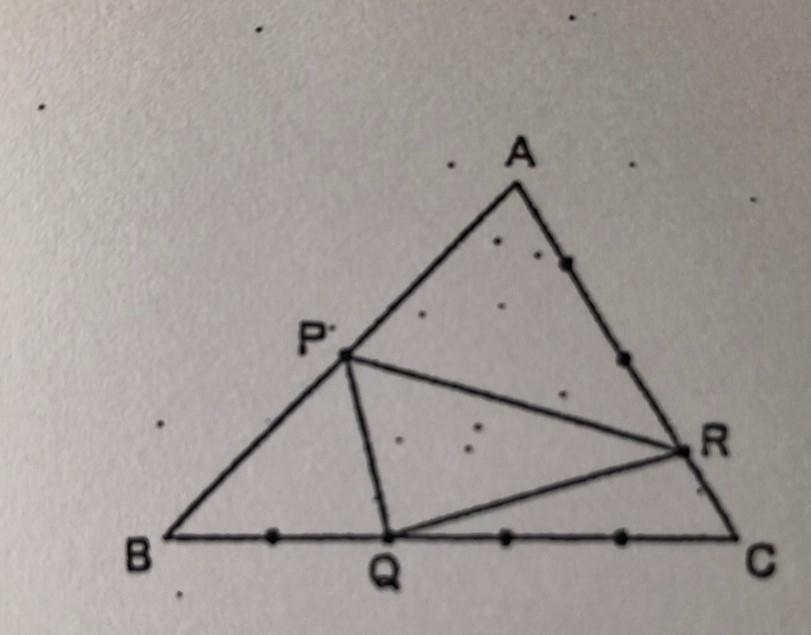 小学校6年の算数、中学受験向き?の問題の解説をお願いしたいです。 下の三角形ABCの辺上の点は、それぞれの辺を等分している。 三角形PQRの面積は、ABCの何倍ですか? 図形がことごとく大人の私...