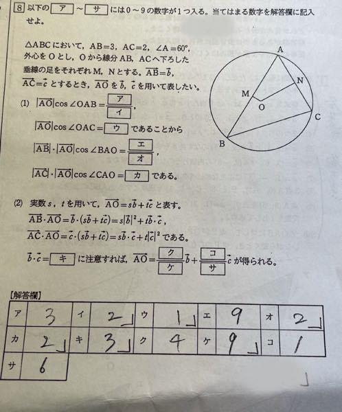 ベクトルの外心の問題です。この答えはどうやって出したのでしょうか?解説お願いします!