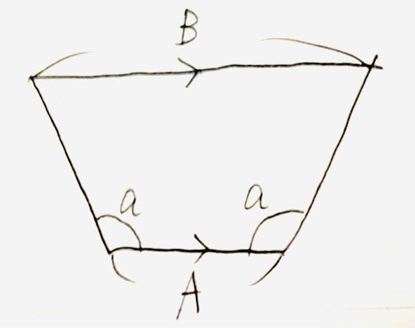 この台形で、BはAとaを使って表すとどうなりますか? AとBは並行です。よろしくお願いします。