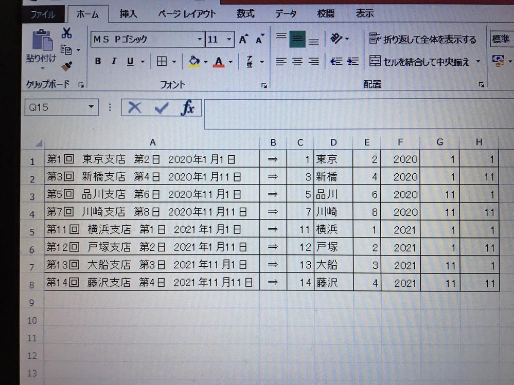 Excelの計算式について質問させて頂きます。 A列に文字列の8パターンがあります。 第X回は1桁又は2桁 支店は全角2文字のみ 第X日は1桁のみ 日付は西暦のみで4桁 月はX月1桁又はXX月2桁 日はX日1桁又はXX日2桁 C列からH列に文字列を分割したいです。 計算式をご存知の方がいらっしゃいましたら、ご教示願います。 どうぞよろしくお願いいたします。