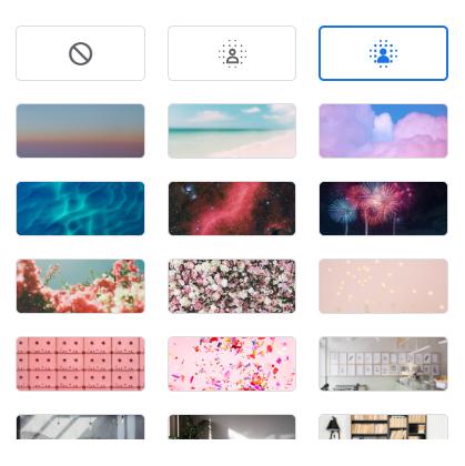 """最新のGoogle meetの背景の設定について。 Google meetのバーチャル背景でPCに保存されている画像を追加して背景を設定したいのですが、プラスボタンが見当りません。どこにあるのでしょうか?使用ブラウザはChrome、""""ハードウェアアクセラレーションが使用可能な場合は使用する""""はONになっています。"""