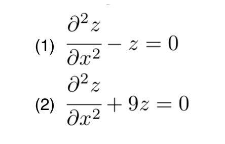画像の問題の解き方を教えてほしいです! 条件として、zがxとyの二変数関数であるというのと、ヒントで↓を利用して良いと書かれていました。 微分方程式 y''+ py'+ qy = 0 (p,q は定数)の解は y=c1y1 +c2y2と表される. ここで関数 y1,y2 は,2 次方程式t^2 + pt + q = 0が ①相異なる実数解a,bをもつとき y1=e^ax,y2=e^bx ②重複解aをもつとき y1=e^ax,y2=xe^ax ③虚数解a±bi(b≠0)をもつとき y1=e^ax·cosbx,y2=e^ax·sinbx である.