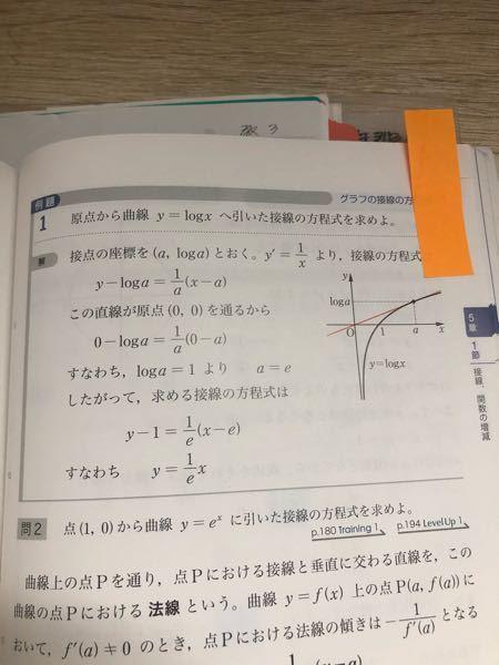 数3の質問です。 この問題で、接線の方程式ではなく、まず関数を微分し、x座標を代入。接線の傾きが分かったところで、接線の式に傾きとx座標とy座標を代入し、切片を求める。というやり方で答えを求めたいのですがどうしてもうまく行きません。どうしたらこのやり方で解けますか? 回答よろしくお願いします。