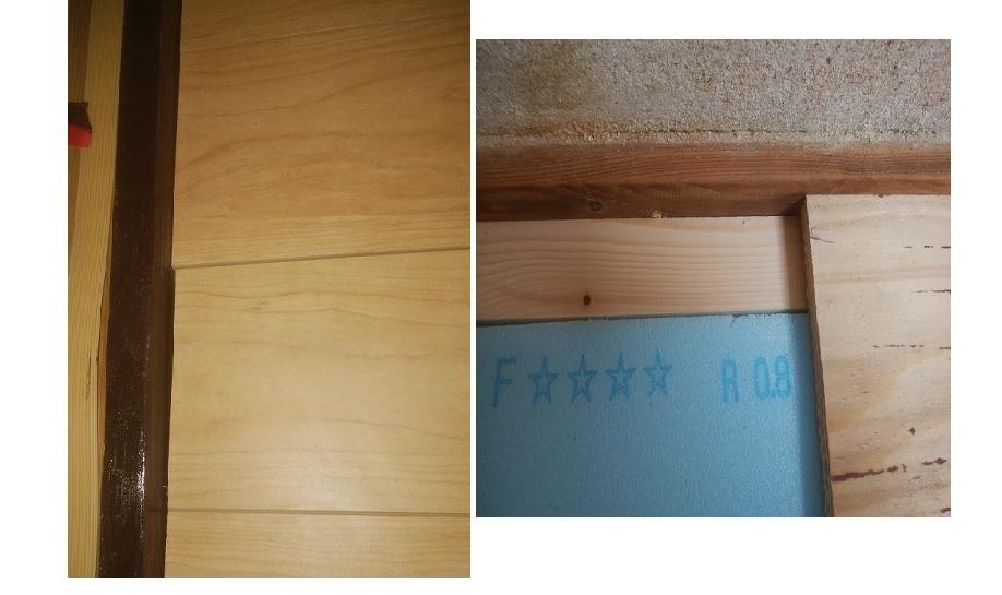 フローリングの巾木または、エンド処理について。 捨て張りでフローリング施工中ですが、画像の通り、 ① (左の画像) 2面は敷居でフローリング材の短手側となります。 画像の通りジ グザグとなり見苦しいと思っております、なんとか見栄えよくするには、どうすればよいでしょうか、コーキング以外でいい方法ないでしょうか? ② (右の画像) 残り2面は壁なのですが、 すでに壁に巾木?が付いている状態ですが、これを見栄えのいい巾木を追加するものはあるでしょうか?(交換は今更手間がかかるので可能なら避けたい)