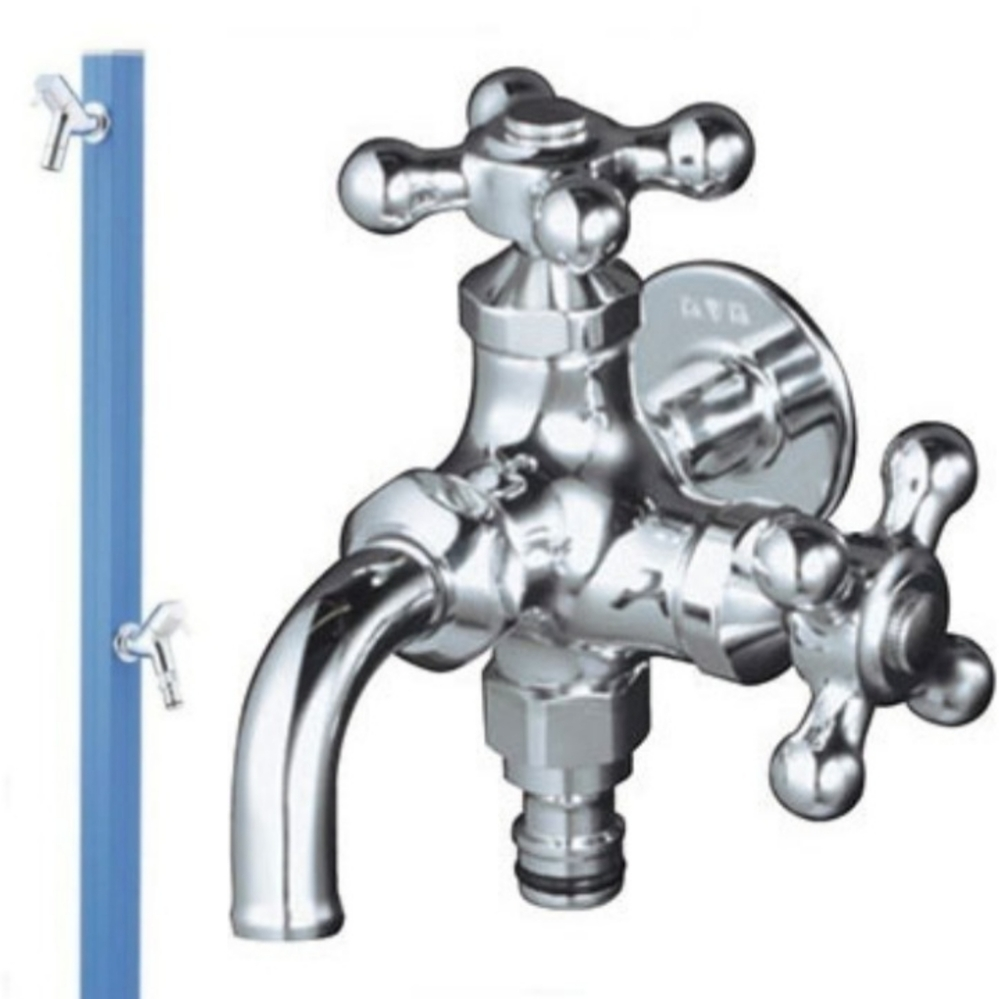 二口蛇口(写真右)と二口水洗(写真左)の使い勝手はどうなのしょうか? 設置するには二口蛇口の方が安くすむようなのですが、実際に使っている方いたら教えて頂きたいです。 立水栓を2つつける予定で、一つは洗車でケルヒャーなど使用する用と手洗いなどで使用する予定で、もう一つは水やりや水遊び用で使用する予定で、スプリンクラーやホースに繋げる予定です。 2口蛇口の使い勝手が特に気になります。