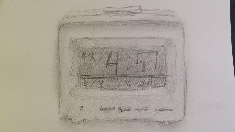 目覚まし時計をデッサンしてみました。 添削お願いします。