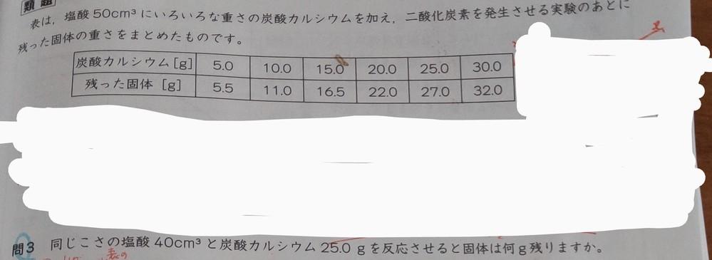 中学受験 理科の問題です。 画像の問題で、解答が理解できず教えていただきたいです。 解答 基準と比べると塩酸は40/50倍、炭酸カルシウムは25.0/20.0倍なので炭酸カルシウムが余る。 少...