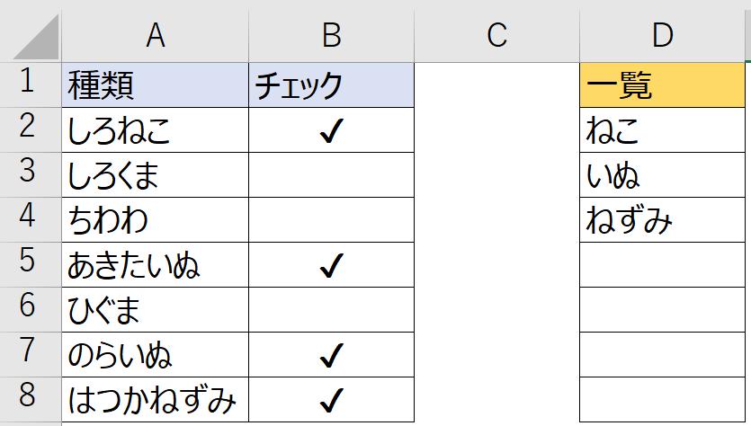 """Excelについてお聞きしたいです。 見づらいかもしれませんが、例を添付しました。 A列の中で、D列の文字列を含むものがあった場合、 B列に何かしらのチェックを入れたいです。 (何でも良いのですが、例えば""""✔""""マークとします。) 本当の資料はもっと量が多いため、何かの関数を使って 自動で対応することはできますでしょうか? IFやCOUNTIFを使ってみたのですが自分ではうまくできず。。。 Excelお詳しい方、ご教授いただけますと幸いです。"""