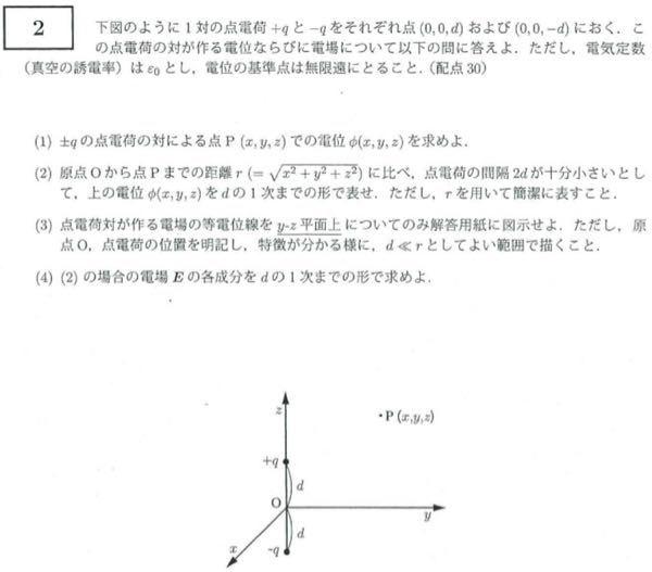 大学物理の、電磁気について ⑴〜⑷について、わからず ⑴については、 ε0q(1/√() − 1/√() の形になりましたか、自信がありません。 しかし、こうしたとき、⑵では0になってしまいます。