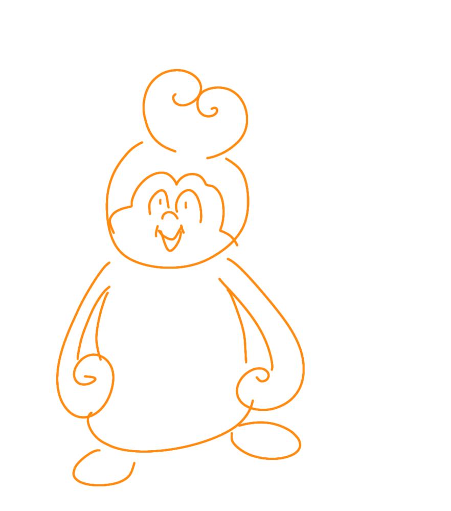 こんなかんじのディズニーのキャラの名前教えてください。配色はオレンジ、黄色、紫です。 絵が下手すぎて伝わらないかもしれません。ごめんなさい。