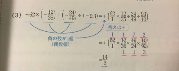 正と負の数のかけ算割り算を勉強しているんですが、分数の計算などが出てきました。ですが前から分数がすごく苦手で未だに全く理解できません。分数のかけ算割り算は約分をしますよね…?この画像の様に沢山数字や×、 ÷などが出てくると頭がこんがらがって何も頭に入らなくなります…赤線の数字は何処と何処を約分すると出てくる答えなのでしょうか、。ずっとその辺りが理解できず、どの参考書や教科書、サイトなどを見ても知りたい場所が書かれてません。 たかが勉強でと思われるかもしれませんが、本当に数学がわからなくて泣きながらやったり髪を抜く癖やリスカが治りません。 詳しくわからないと次に進みたくない!と考えてしまうタイプなので全然進みません… わかる方いましたら詳しく教えていただけませんか、