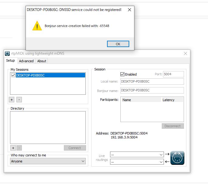 rtpmidiを用いたipadのMIDIキーボード化について。 rtpmidiをpc上で立ち上げ、画像のように使っているpcの名前にチェックボックスを入れるとこのような表示が出て、エラーを吐いているようです。 Directlyの欄にも接続しようとしているipadの名前が表示されません。 この時ipadではmidi studio というrtpmidi対応のアプリを開いています。 また、PCもipadも同じWi-Fiに接続しています。 どなたか解決策をご存知ではありませんでしょうか。 本来であればMy sessionの欄にあるpcにチェック入れ、Directlyの欄に表示されるipadにもチェックを入れることでipadをMIDIキーボード化できるはずです。