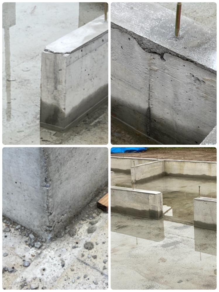新築木造平屋の基礎について教えてください。 全くの素人なので、分からないことだらけです。 ①基礎の立ち上がり部分?を平らにしているモルタル?が画像のように所々かけているのは大丈夫でしょうか? 工務店へ確認すると『この部分は柱や耐力壁がこないところですので、このままでいきます。』と言われました。 ②コンクリート部分がすこし崩れたようになっているところも心配です。 ③コンクリート部分に無数に小さな穴が開いているのは、将来的に大丈夫なのでしょうか?これは、普通ですか?