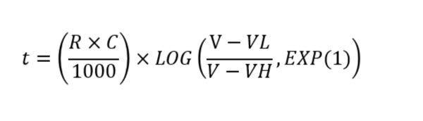 コンデンサの充電時間について質問です。自分なりに調べてみて、コンデンサの充電時間を求める式が以下の式だとわかったのですが、【,EXP(1)】がよくわかりません。eの一乗ということでしょうか?この【,EXP(1)】を かけるのか、どう扱えばいいのかよくわかりません。 また、コンデンサの充電時間について調べるとτ=CRという式もあるとわかったのですが、この式はコンデンサの静電容量が約6割に達するまでの時間を求めるものでした。画像1枚目のEXP(1)がある式は静電容量が10割に達するまでの時間を表したもので間違いないのでしょうか? よろしくお願いします。