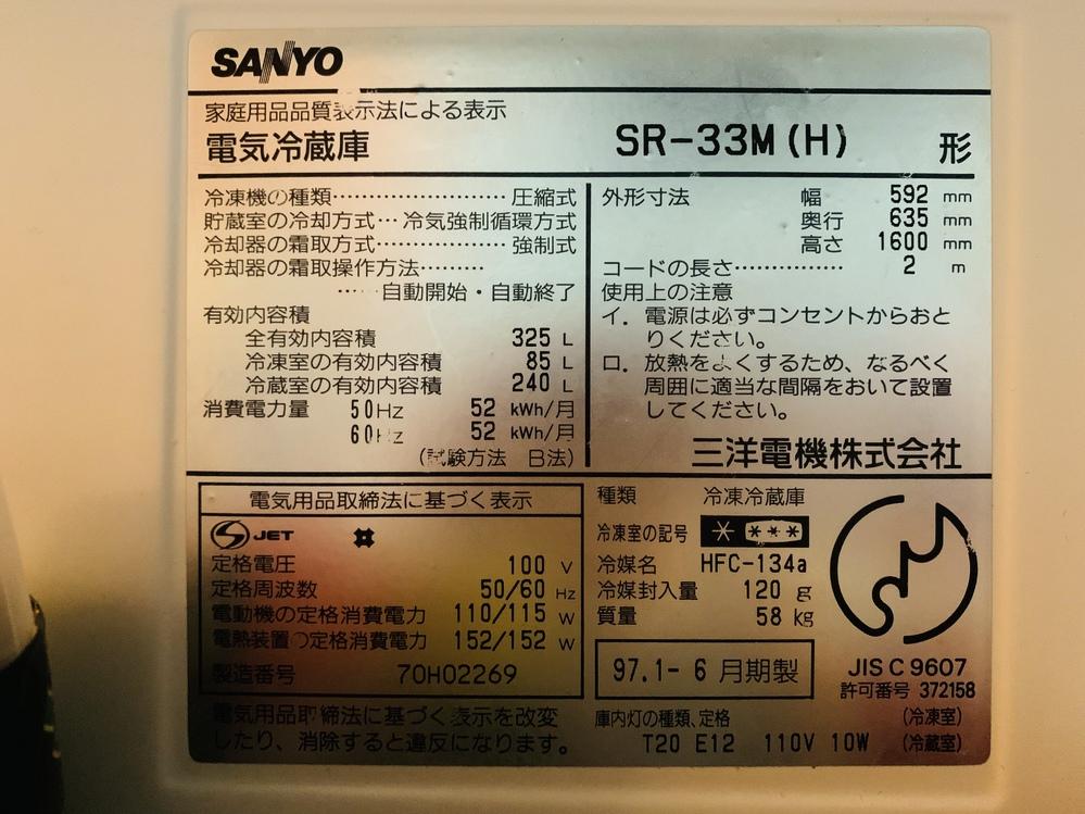 かなり前の冷蔵庫なのですが、この冷蔵庫は1ヶ月あたり電気料金が約いくらかかってるか計算出来る方いますか? 計算の仕方がわからず大体でいいので教えてください
