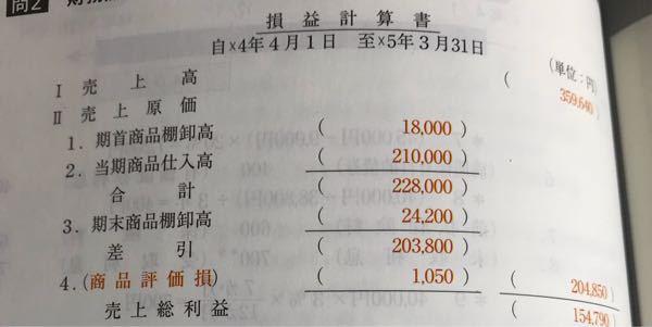 簿記二級について質問です。 財務諸表の損益計算書を作るとき、下のような写真の状態で、商品評価損を差引の欄の額と足すのは何故ですか?