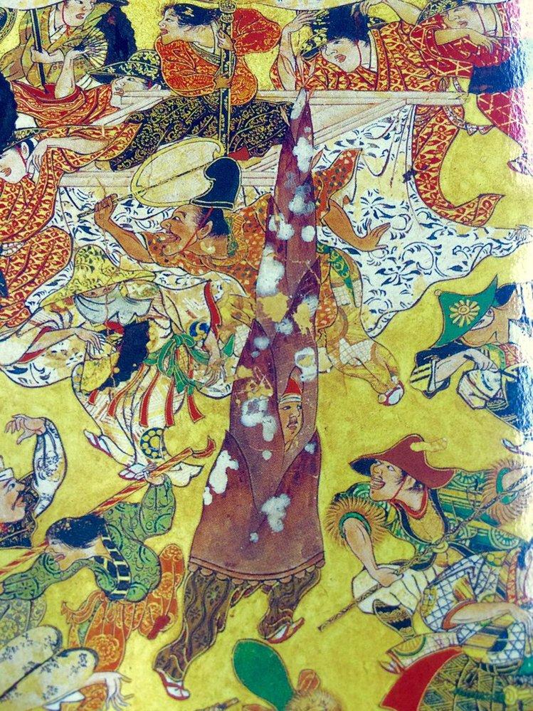 歴史好きな人に質問です。岩佐又兵衛筆「豊国祭礼図屏風」の中で、タケノコのコスプレがありました。なぜタケノコだったのでしょうか?