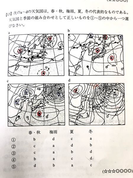 【中学理科地学】気圧配置についての問題です。画像a-dの中からそれぞれ、春・秋、梅雨、夏、冬を選択するのですが、答えはどれになると思いますか? わかりにくいですが、赤丸は高気圧です。