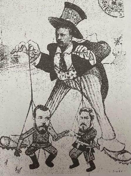 日露戦争の風刺画について。 この画像の人はそれぞれ、どこの国ですか。また、それぞれの国がどのような立場をとっているものとして描かれているのでしょうか。至急お願いします。