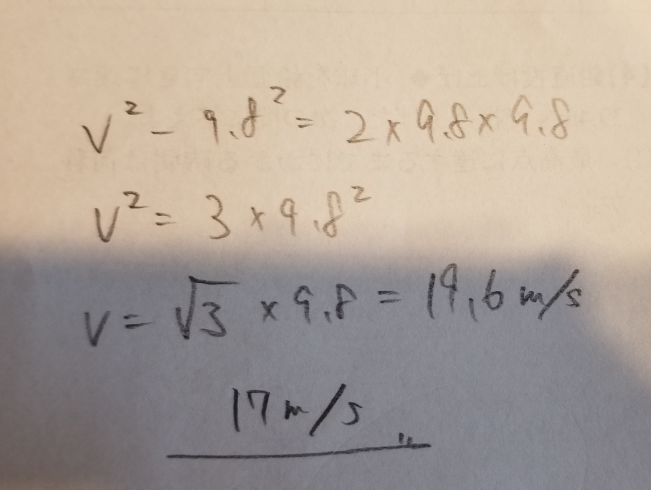 高さ9.8mの位置から、小球を鉛直下向きに速さ9.8m/sで投げ下ろした。地面に達する直前の速さは何 m/sか。 解説は下の画像なのですが、ルート3ってどこから出てくるのですか?どういう式変形なのか解説お願いします。