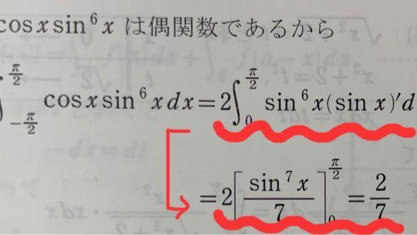 偶関数の積分です 写真の波線部を教えてください。