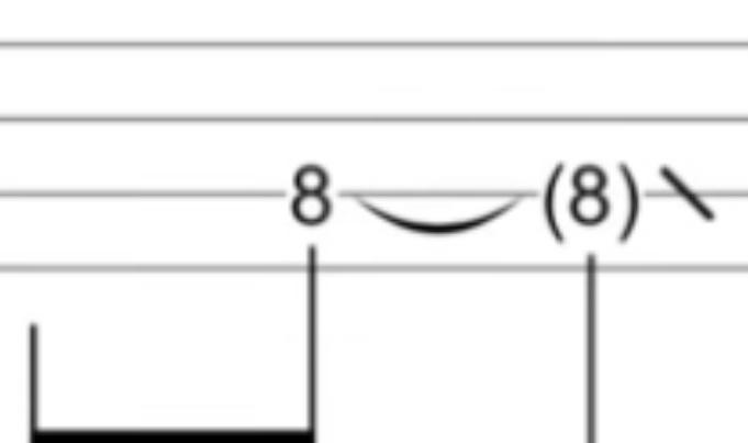 ギターのTAB譜についてです。 この(8)はどういう意味なのでしょうか?