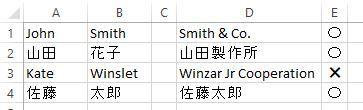 Excelについて質問させて下さい。 D列の文字の中に、A列またはB列のどちらかの文字が含まれていれば、〇とし、全く含まれてなければ、✖としたいのですが、どのようにしたら良いでしょうか?