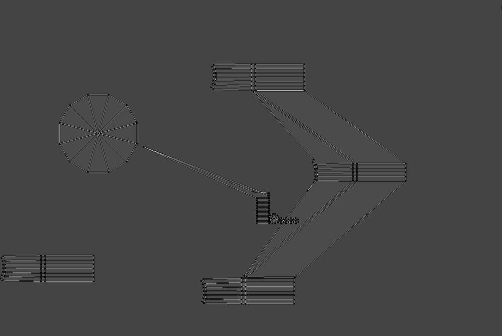 BlenderのUV展開についての質問です。 UV展開してGで移動すると添付図の様な状態になってしまします。 拡大しても各々がくっ付いていません。 何故こうなるのですか? また対策方法を教えて頂けると幸いです。 宜しくお願いします。