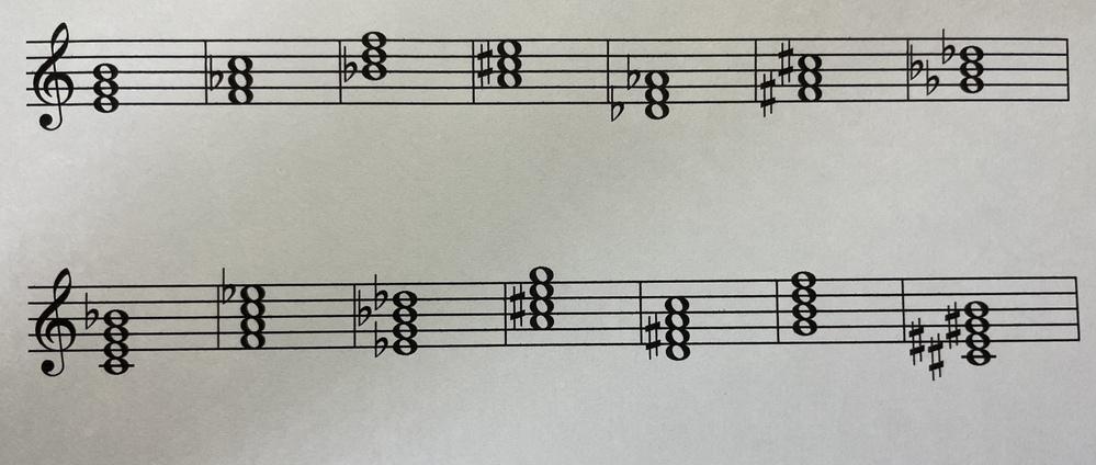 この和音のピアノコードを全部教えてください。自分で考えろとかはなしでお願い致します。