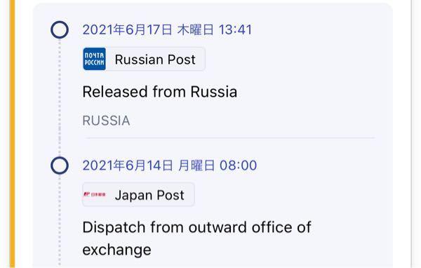 """ロシアからの贈り物なのですが """"Released from Russia""""とは、ロシアから荷物が旅立ったって意味を指しているんでしょうか?"""