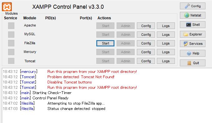 XAMPP経由でブラウザ表示が出来なくなりました。(http://localhost/にアクセスしても到達できません) 昨日XAMPPをインストールし、問題なく動いていました。 「C:\xampp\xampp-control.exe」が画像のようにFileZillaしか選択できず、Apacheが起動できません。 解決策が分かる方、よろしくお願いいたします。 OS : Windows10